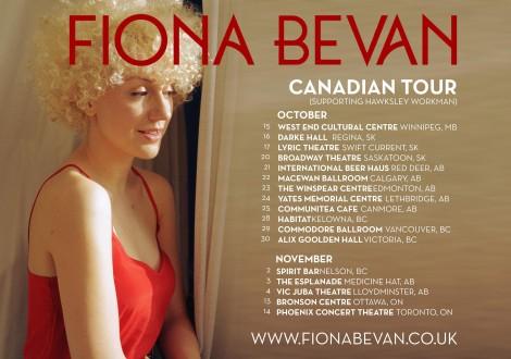 Fiona Bevan canada tour dates